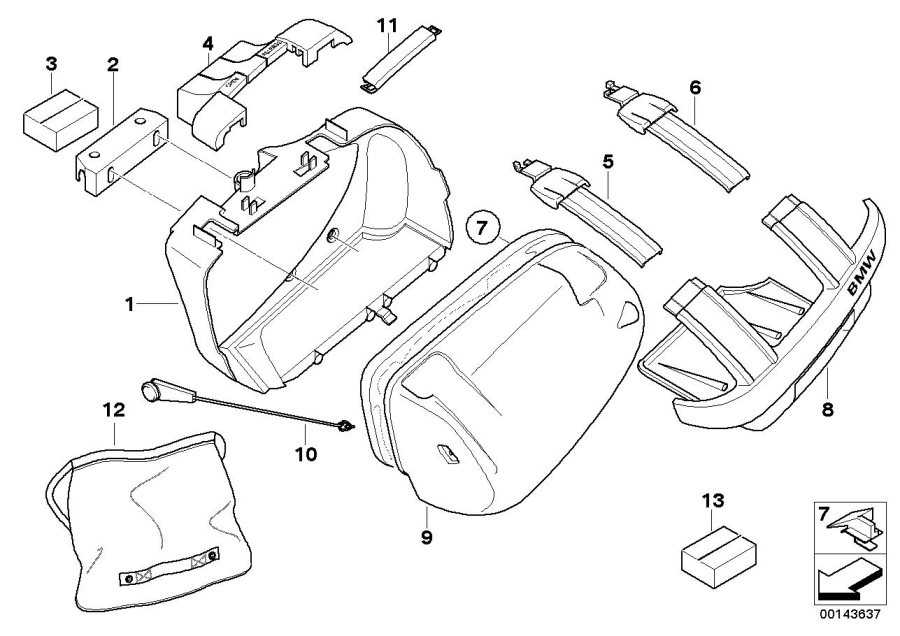 Diagram Sports case single parts for your BMW R1200R