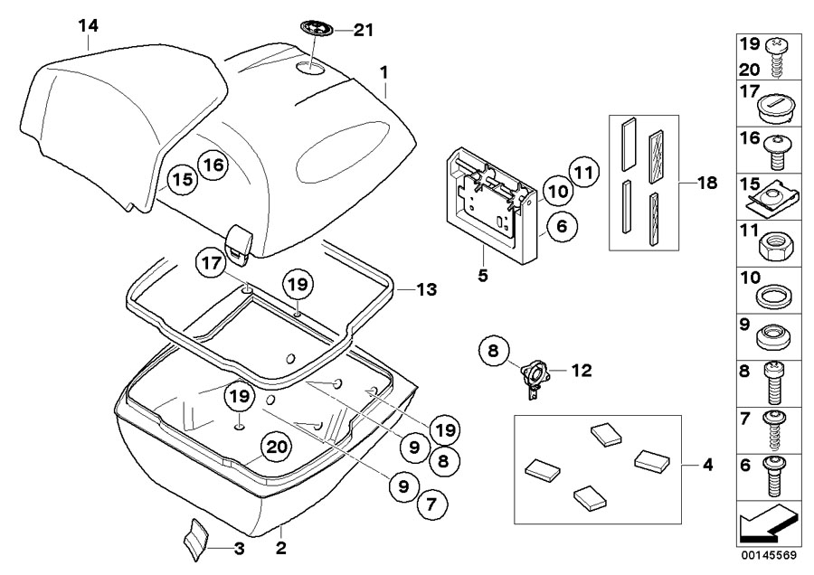 Diagram Single parts, topcase 49l for your BMW R1200R