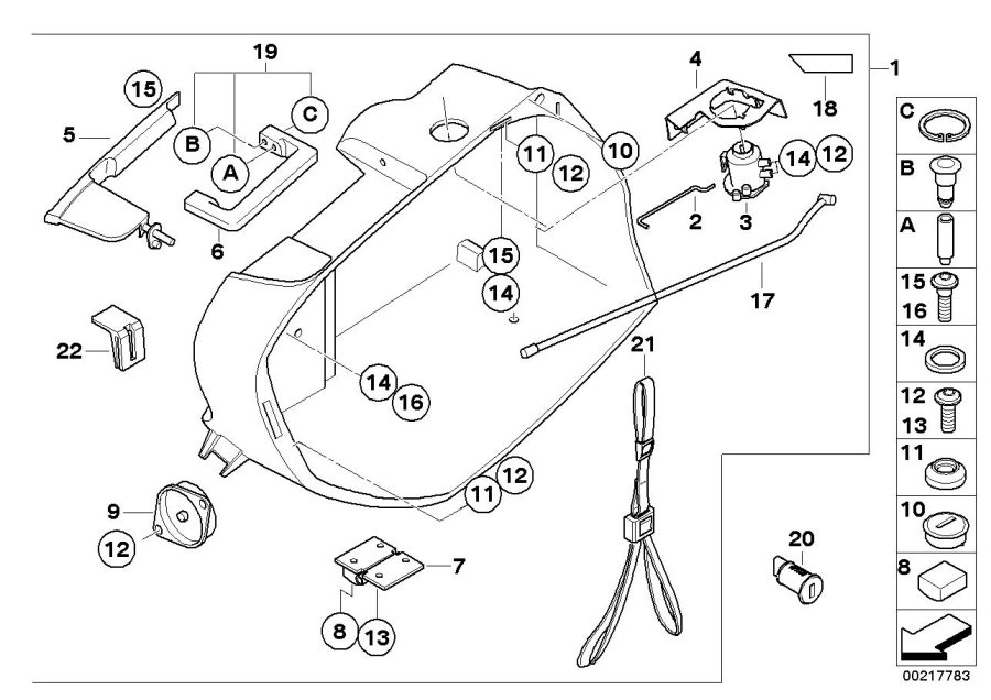 Diagram Case, lower part for your 2009 BMW R1200R