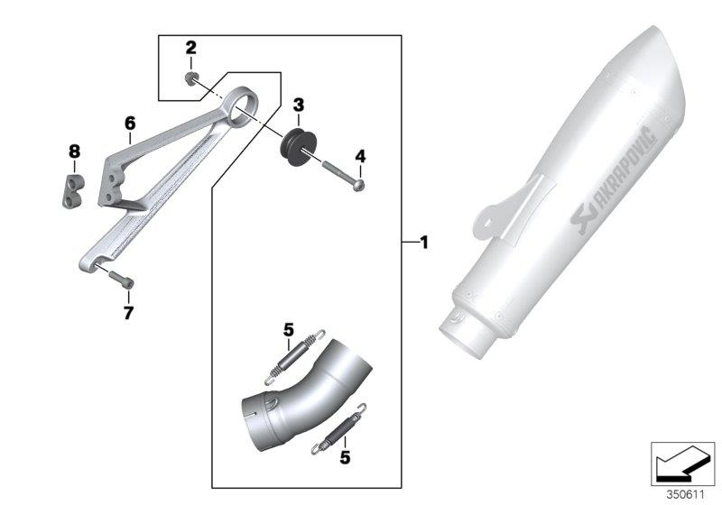 Diagram Mounted parts, sport muffler, lower for your BMW R nineT Racer