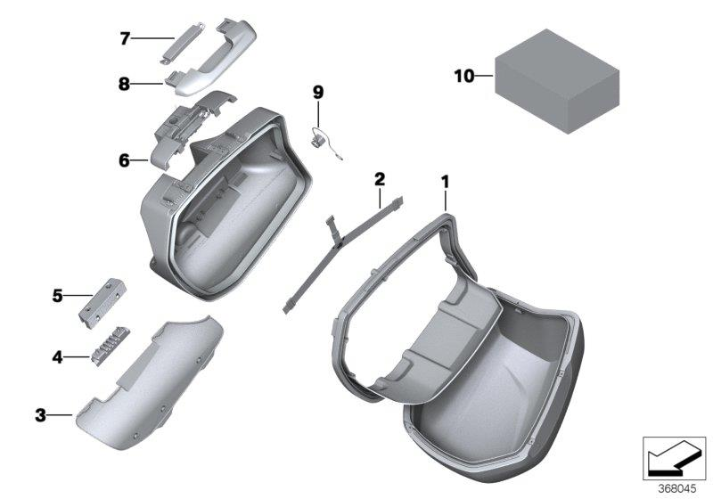 Diagram Single parts, touring case for your BMW R1200R