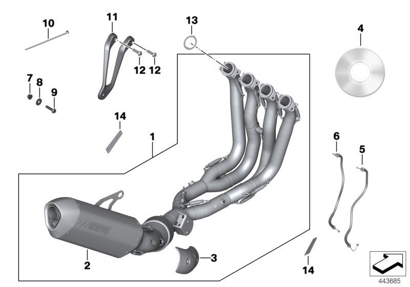 Diagram HP titanium exhaust system for your BMW S1000RR