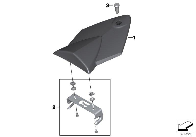 Diagram HP carbon-fiber tail-hump cover for your BMW S1000RR